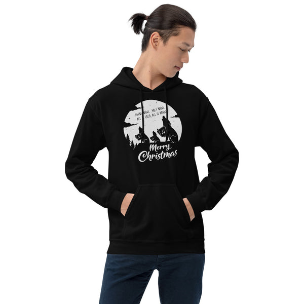 Merry Christmas Singing Wolves Hoodie