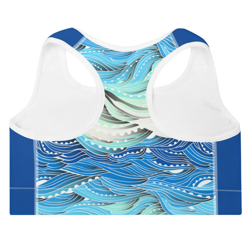 Ocean Waves Blue Padded Sports Bra