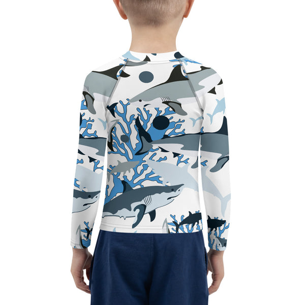 SEA OUR LOVE™ Shark Camo Kids Rash Guard