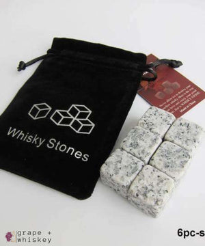 100% Natural Whiskey Stones - 6pc light gray - Grape and Whiskey