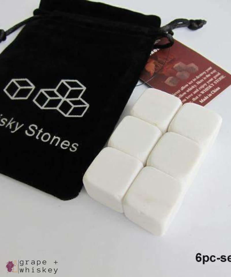 100% Natural Whiskey Stones - 6pc white - Grape and Whiskey