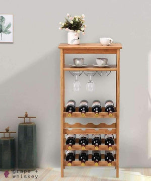16 Bottle Bamboo Wine Rack with Glass Hanger -  - Grape and Whiskey