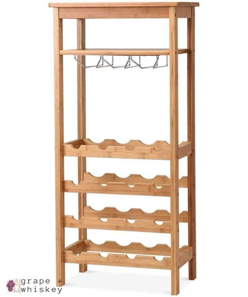 16 Bottle Bamboo Wine Rack with Glass Hanger - Default Title - Grape and Whiskey