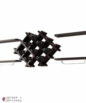5pc Wall Mount Wine Rack Set w/ Storage Shelves in Black - Default Title - Grape and Whiskey