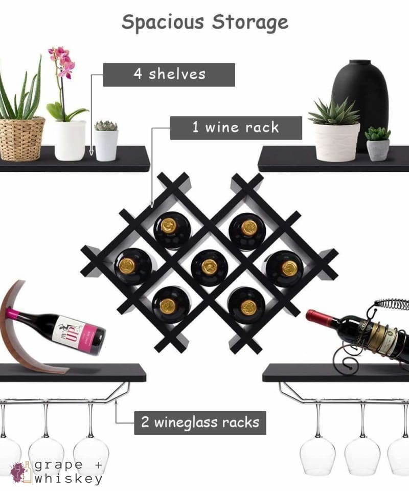 5pc Wall Mount Wine Rack Set w/ Storage Shelves in Black - Grape + Whiskey - grapeandwhiskey.com