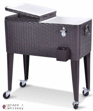 80QT Outdoor Portable Rattan Cooler Cart - Default Title - Grape and Whiskey