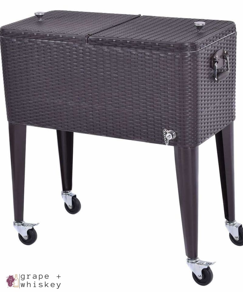 80QT Outdoor Portable Rattan Cooler Cart - Grape + Whiskey - grapeandwhiskey.com