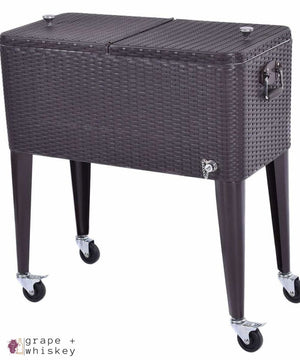 80QT Outdoor Portable Rattan Cooler Cart -  - Grape and Whiskey