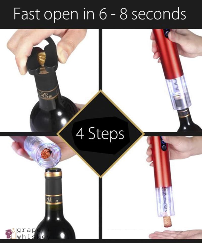 Automatic Aluminum Wine Opener - Grape + Whiskey - grapeandwhiskey.com