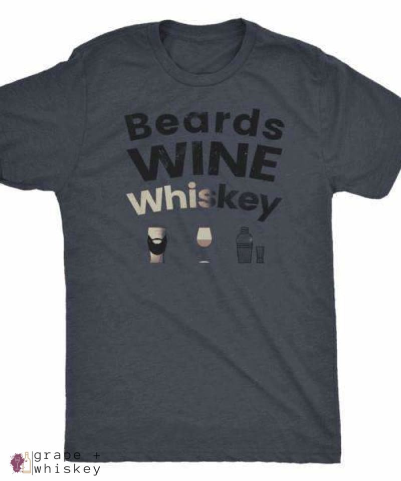 Beards WINE Whiskey Triblend Men's Short Sleeve Tee - Next Level Mens Triblend / Vintage Navy / 3XL - Grape and Whiskey
