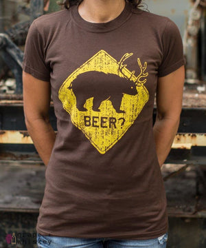 """Beer? Bear"" Women's Short Sleeve Tee - Small / Chocolate - Grape and Whiskey"