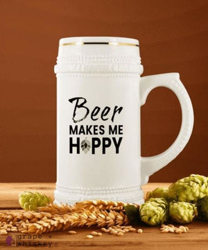 """Beer Makes Me Hoppy"" 22oz Beer Stein -  - Grape and Whiskey"