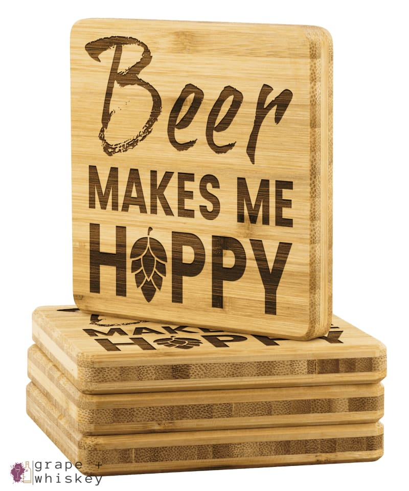 Beer Makes Me Hoppy Bamboo Coasters - Bamboo Coaster - 4pc - Grape and Whiskey