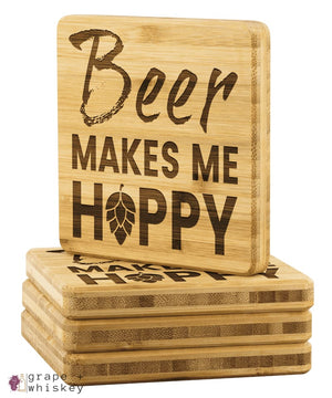 Beer Makes Me Hoppy Bamboo Coasters - Grape + Whiskey - grapeandwhiskey.com