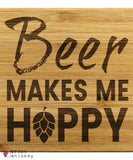 Beer Makes Me Hoppy Bamboo Coasters -  - Grape and Whiskey