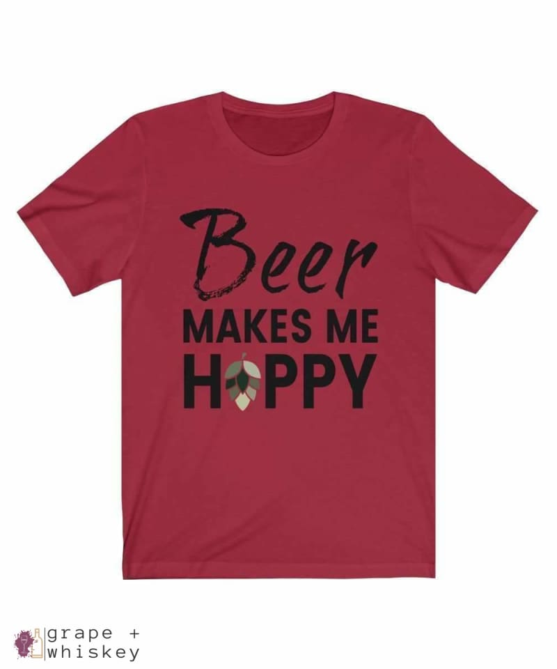 Beer Makes Me Hoppy Short Sleeve Tee - Canvas Red / 3XL - Grape and Whiskey