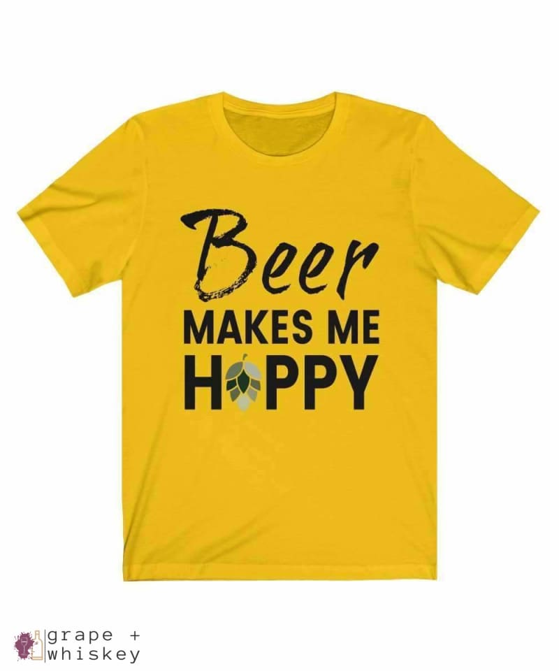 Beer Makes Me Hoppy Short Sleeve Tee - Maize Yellow / 3XL - Grape and Whiskey
