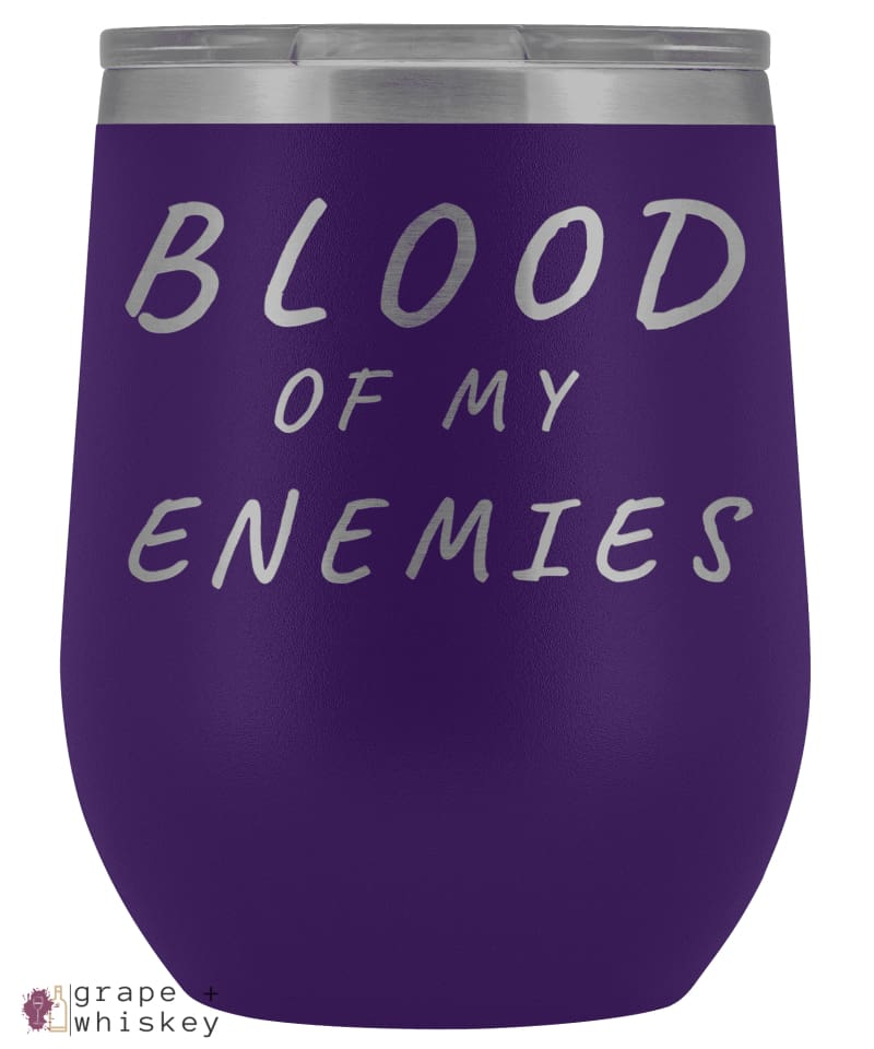 """Blood of my Enemies"" 12oz Stemless Wine Tumbler with Lid - Purple - Grape and Whiskey"