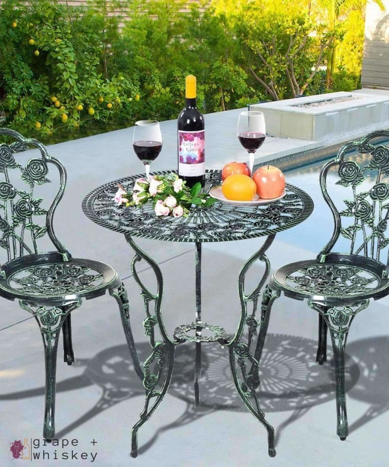 Cast Aluminum Bistro Rose Furniture Set -  - Grape and Whiskey