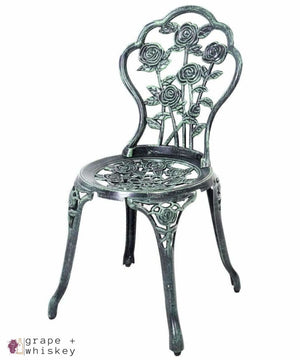 Cast Aluminum Bistro Rose Furniture Set - Grape + Whiskey - grapeandwhiskey.com