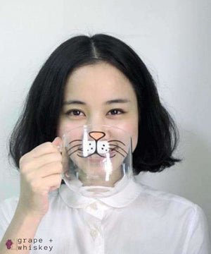 Cat Mustache Mug -  - Grape and Whiskey