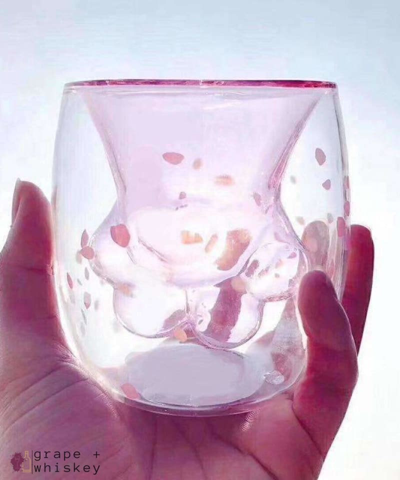 Cat Paw Whiskey and Wine Glass - Pink - Grape and Whiskey