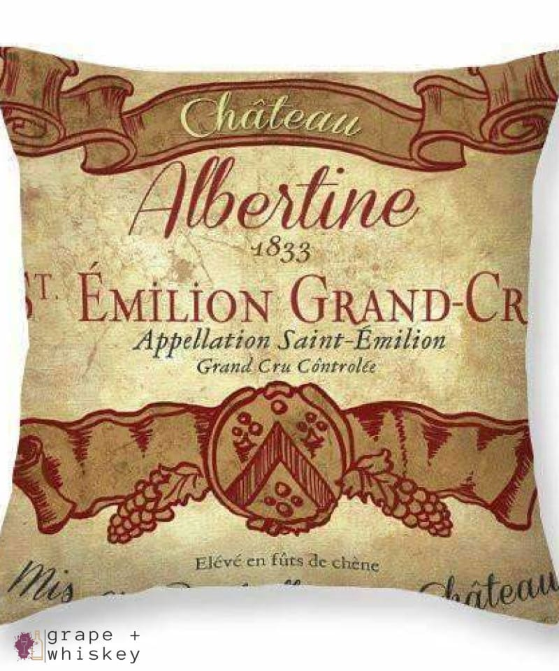 "Chateau Albertine Wine Throw Pillow - 26"" x 26"" / No - Grape and Whiskey"