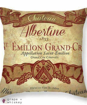 Chateau Albertine Wine Throw Pillow - Grape + Whiskey - grapeandwhiskey.com