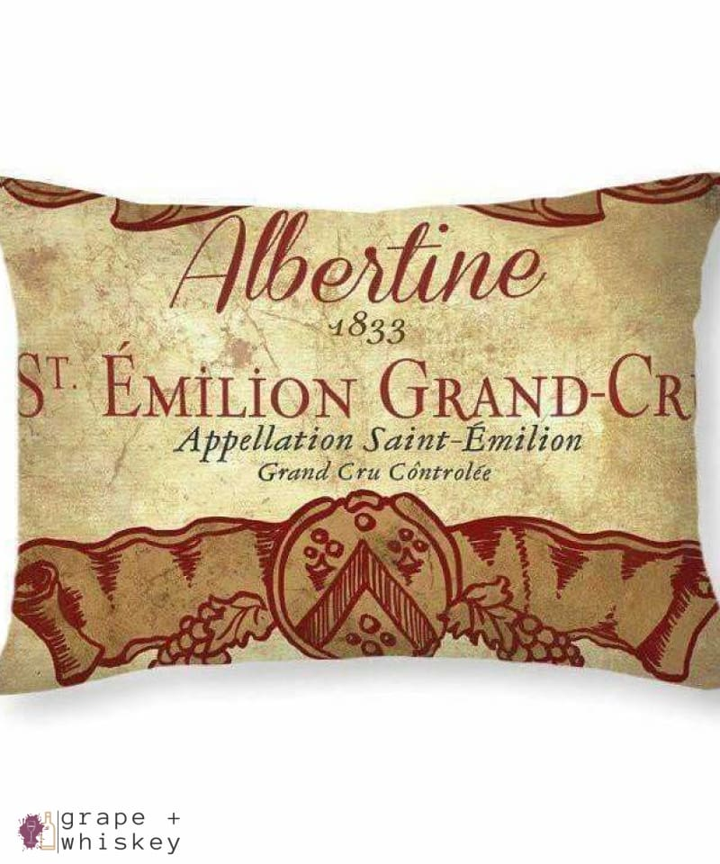 "Chateau Albertine Wine Throw Pillow - 20"" x 14"" / No - Grape and Whiskey"