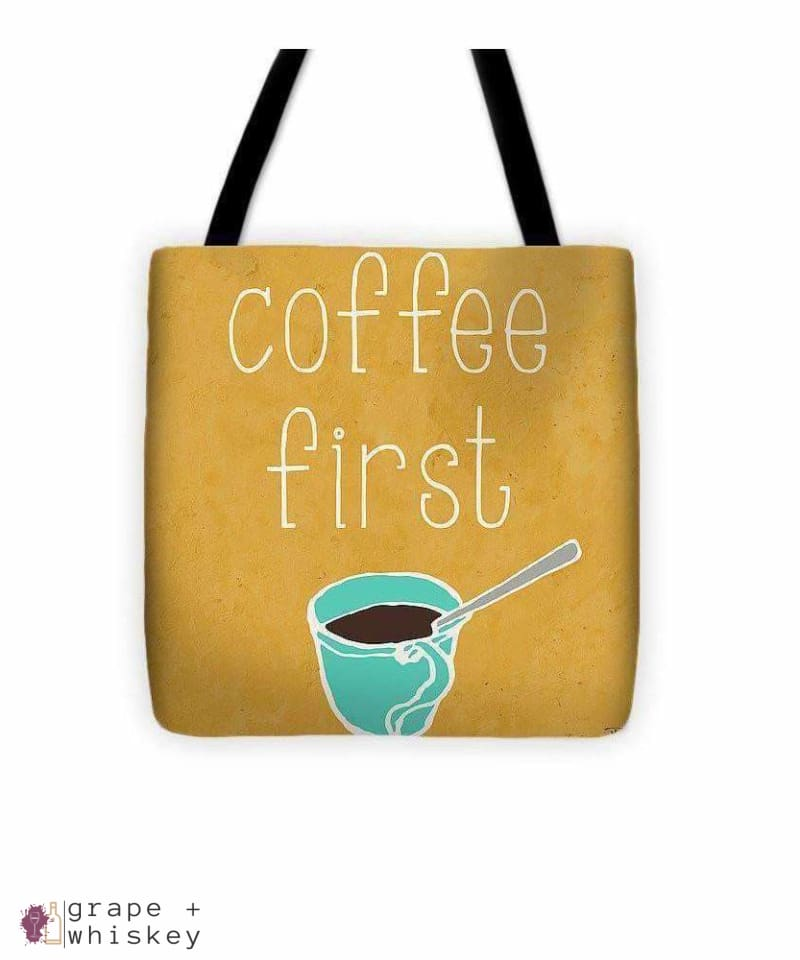 """Coffee Or Wine"" Tote Bag - 13"" x 13"" - Grape and Whiskey"
