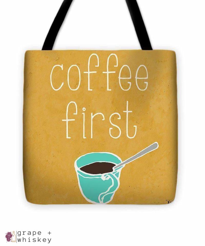"""Coffee Or Wine"" Tote Bag - 16"" x 16"" - Grape and Whiskey"