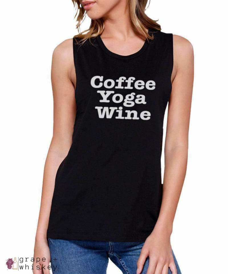 Coffee Yoga Wine Cute Sleeveless Shirt -  - Grape and Whiskey
