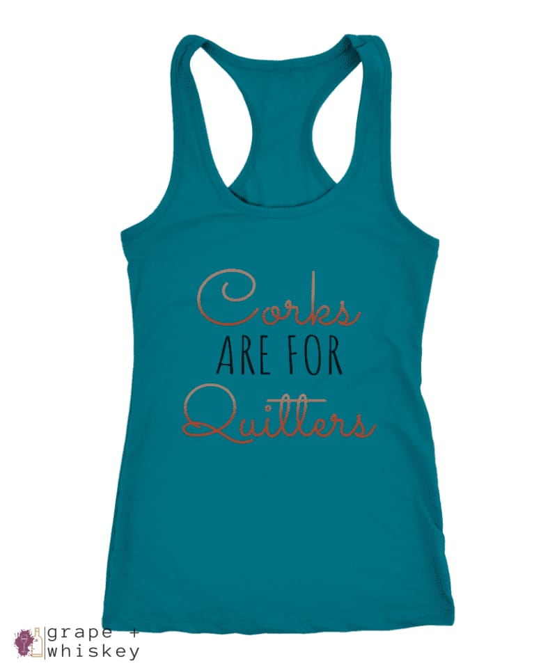 Corks are for Quitters - Racerback Tank - Grape + Whiskey - grapeandwhiskey.com