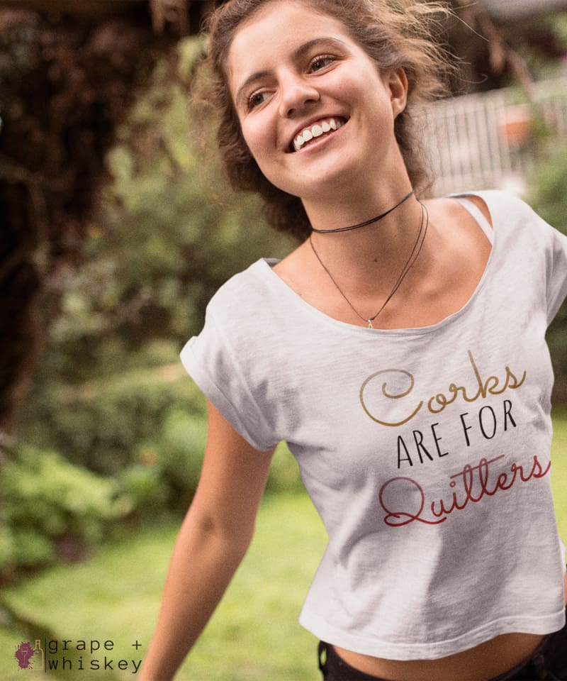 Corks are for Quitters - Women's Tri-Blend Loose Fit -  - Grape and Whiskey