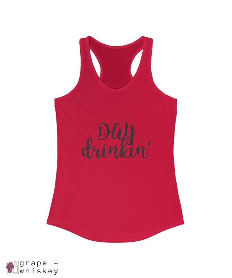 Day Drinkin' Women's Fitted Racerback Tank - Solid Red / 2XL - Grape and Whiskey