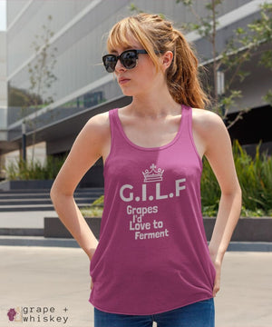 GILF Women's Tri-Blend Racerback Tank - Grape + Whiskey - grapeandwhiskey.com