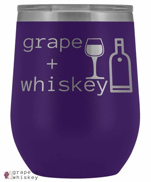 """Grape + Whiskey"" 12oz Stemless Wine Tumbler with Lid - Purple - Grape and Whiskey"