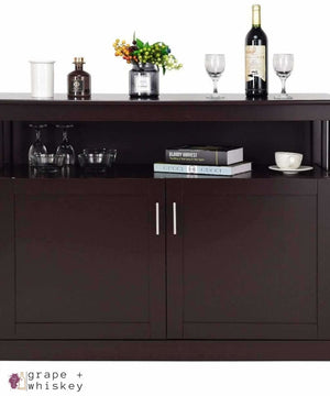 G+W Modern Wooden Kitchen Storage Cabinet - Brown - Default Title - Grape and Whiskey