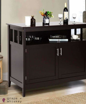 G+W Modern Wooden Kitchen Storage Cabinet - Brown -  - Grape and Whiskey