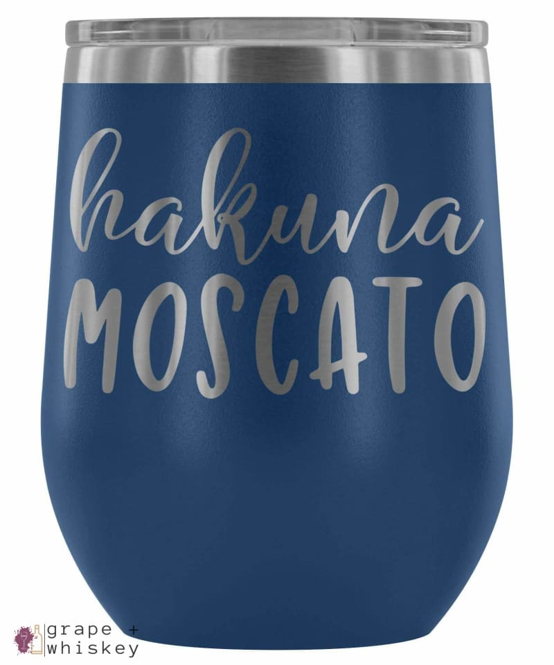 """Hakuna Moscato"" 12oz Stemless Wine Tumbler with Lid - Blue - Grape and Whiskey"