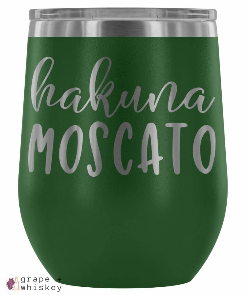"""Hakuna Moscato"" 12oz Stemless Wine Tumbler with Lid - Green - Grape and Whiskey"