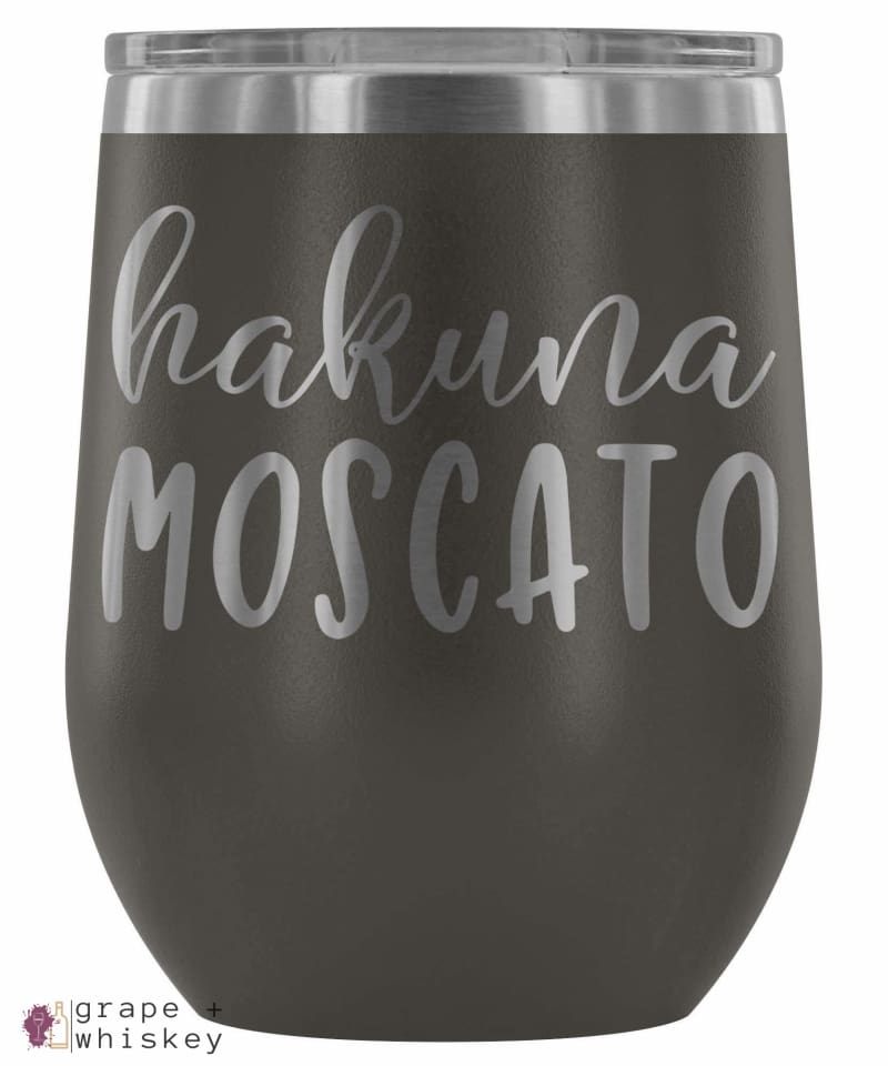 """Hakuna Moscato"" 12oz Stemless Wine Tumbler with Lid - Pewter - Grape and Whiskey"