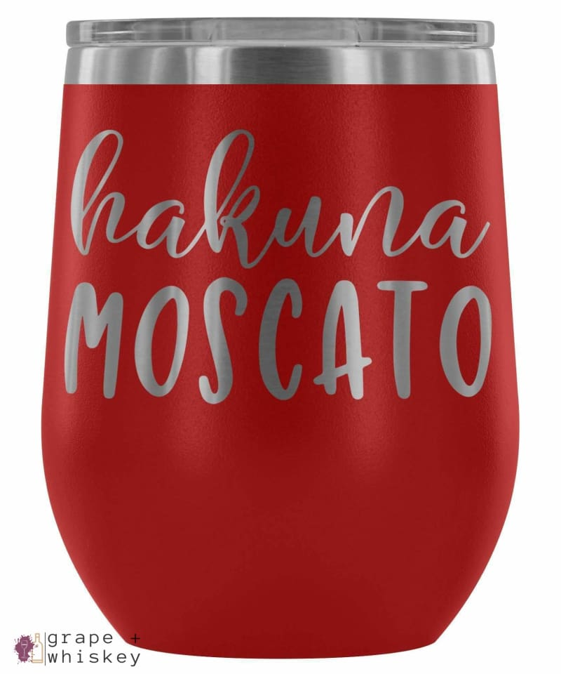 """Hakuna Moscato"" 12oz Stemless Wine Tumbler with Lid - Red - Grape and Whiskey"