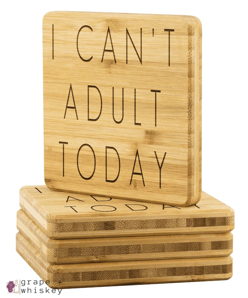 I Can't Adult Today Bamboo Coasters - Bamboo Coaster - 4pc - Grape and Whiskey