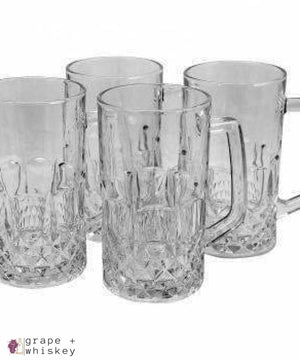 Jewelite 4 Piece 21 oz. Glass Beer Mug Set -  - Grape and Whiskey