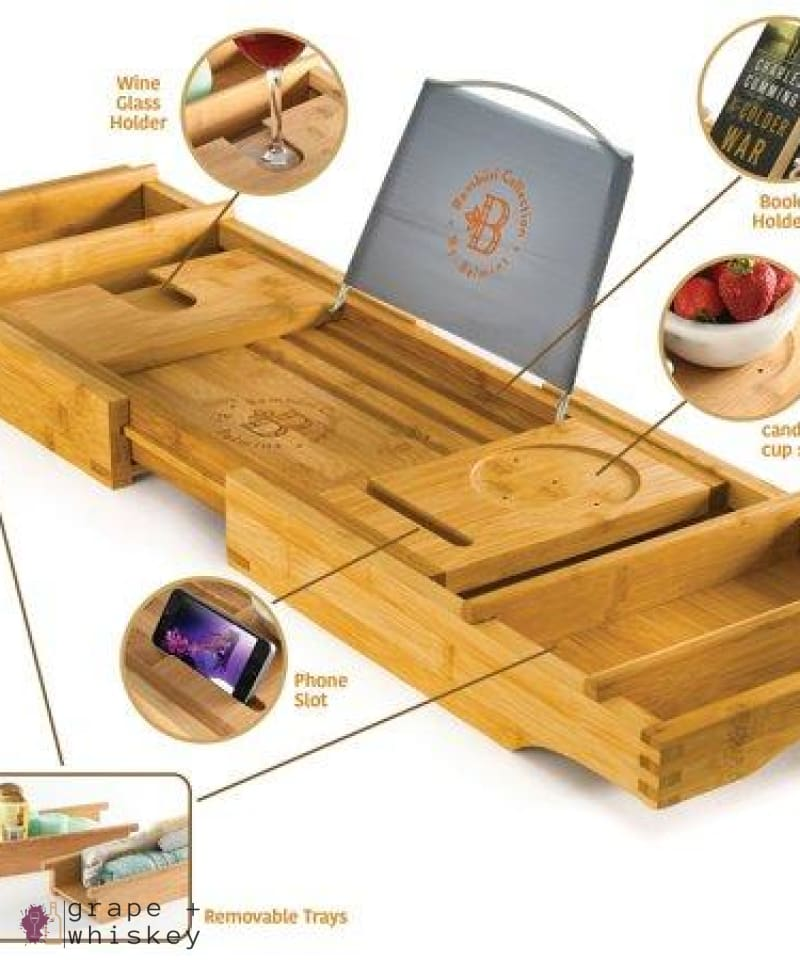 Luxury Expandable Bamboo Wine Bathtub Caddy -  - Grape and Whiskey