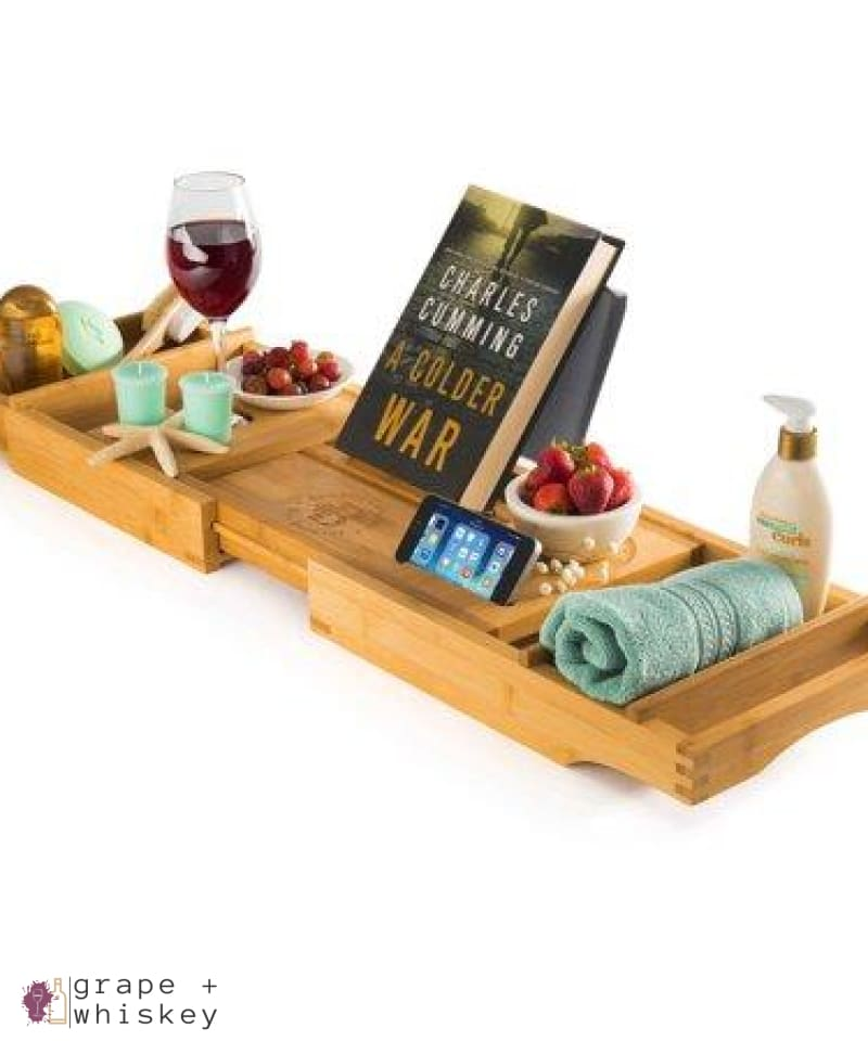 Luxury Expandable Bamboo Wine Bathtub Caddy - Default - Grape and Whiskey