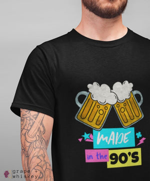 """Made in the 90s"" Men's Short Sleeve Tee - Black / L - Grape and Whiskey"