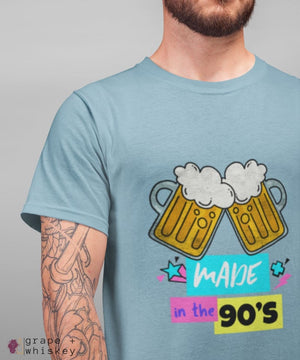 """Made in the 90s"" Men's Short Sleeve Tee - Light Blue / XS - Grape and Whiskey"