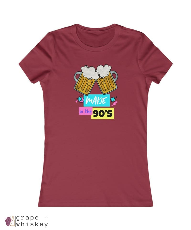 """Made in the 90s"" Women's Favorite Slim-fit Tee - Cardinal / 2XL - Grape and Whiskey"